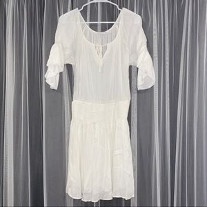 NWOT New York & Company white peasant dress